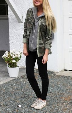 grey sweater with army coat, leggings and white all-star shoes