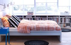 IKEA offers everything from living room furniture to mattresses and bedroom furniture so that you can design your life at home. Check out our furniture and home furnishings! Dream Bedroom, Home Bedroom, Bedroom Decor, Bedroom Ideas, Bedrooms, Low Bookshelves, Low Shelves, Window Shelves, White Shelves