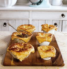 Deep-dish Trinchado Pies made with beef, onion, chillies and garlic and topped with all-butter puff pastry.