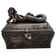 Mermaid Treasure Chest - Bronze Patinaed Mermaid Jewelry Treasure Box