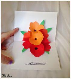 #Handmade #Flowers #PopUp #card check the video #tutorial on my blog here: http://giugizu.blogspot.it/2015/05/diy-flowers-pop-up-card-biglietto-con.html