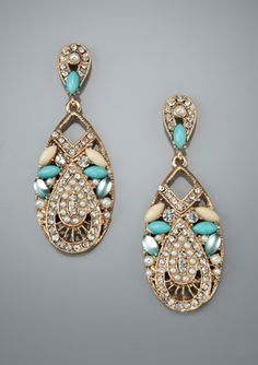 OLIVE & WINNIE Embellished Oval Drop Earrings $32.99