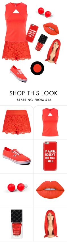 """""""Red ✌✌✌"""" by jazilynrenee ❤ liked on Polyvore featuring City Chic, Karen Millen, Vans, Casetify, Hring eftir hring and Gucci"""