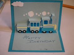 Personalised pop up birthday card made by little white dog birthday card idea for jarviss birthday crafty card tricks pop up train birthday card bookmarktalkfo Image collections