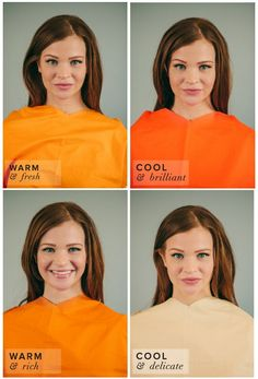 Spring Color Complexion Test. Different Shades of Orange: Tangerine, Persimmon, Pumpkin, Peach. Tangerine best suits her complexion.