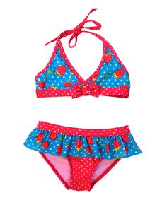 Take a look at this Turquoise Strawberry Ruffle Bikini - Infant I bought at zulily today!
