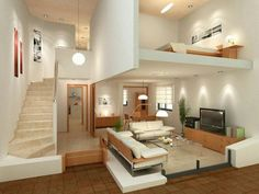 15 Amazing Interior Design Ideas for Modern Loft www.futuristarchi… 15 Amazing Interior Design Ideas for Modern Loft www. Loft House, House Rooms, Loft Design, Design Case, Small House Design, Modern House Design, Studio Apartment Layout, Studio Layout, Design Apartment