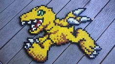 Agumon Bügelperlen Bild :)  #Digimon #Anime #Beadsprites #Games #Merchandise #Dawanda #Bügelperlen #Pixel #Agumon #Handmade #DIY #Selbstgemacht