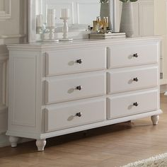 A&J Homes Studio This is a beautiful dresser of the Trisa collection. It features 6 drawers which save you more space for your living room. The design is stylish. Bedroom Dressers, Bedroom Sets, Bedroom Furniture, Master Bedroom, Apartment Furniture, Closet Bedroom, White Bedroom, 9 Drawer Dresser, Dresser With Mirror