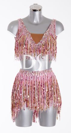 Rose Latin Dress as worn by Janette Manrara on Strictly Come Dancing 2014. Designed by Vicky Gill and produced by DSI London