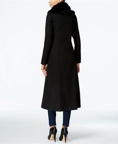 Forecaster Rabbit-Fur-Trim Maxi Walker Coat - Coats - Women - Macy's