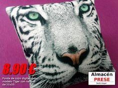 Funda de cojín de 50x50 modelo Tiger digitalizado de alta calidad. El precio incluye relleno de cojín de fibra hueca.