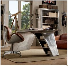 Eclectic Home Office with Aviator Single Shelving, Restoration hardware aviator wing desk, Hardwood floors, Pendant light Home Office Desks, Office Furniture, Modern Furniture, Furniture Design, Modern Desk, Contemporary Office, Furniture Layout, Furniture Stores, Steampunk Interior