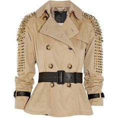 Burberry Prorsum Studded cotton-twill jacket (€1.815) ❤ liked on Polyvore featuring outerwear, jackets, coats, tops, flare jacket, long sleeve jacket, double breasted jacket, burberry and embellished jacket