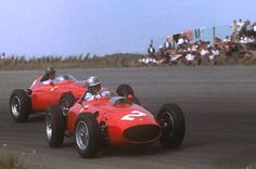 Wolfgang Von Trips and Richie Ginther (Ferrari 246's) in the Dutch Grand Prix at Zandvoort, 1960