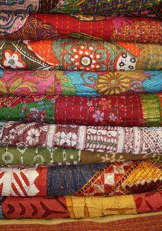 "bohosantafetrail: "" Pile of quilts by Sarah Bell Smith "" Motifs Textiles, Textile Fabrics, Textile Art, Bohemian Quilt, Indian Quilt, Quilted Pillow, Kantha Quilt, Vintage Quilts, Hand Quilting"