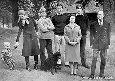 Peter Phillips, Princess Anne, Prince Edward, Prince Charles, Prince Andrew, Queen, Prince Philip at Balmoral 1979
