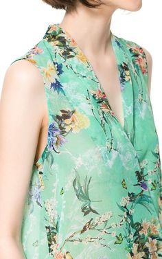 PRINTED TOP - Woman - New this week - ZARA United Kingdom #aqua #floral