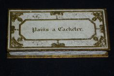 "Antique 19th century tiny French box Pains a Cacheter ? stamps patches 2 3/4"" x 1 1/4"" Collectors"