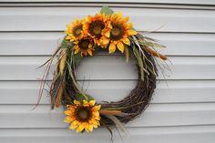 Summer or fall wreath.  Fall decor. Sunflower by JBakerDesign, $40.00
