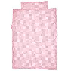 Bettwäsche rosa mit weißen Punkten  - Maße: 135 x 200 cm und 80 x 80 cm  - Material: Baumwolle  - Maschinenwaschbar
