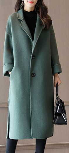 US$  Free shipping. Size: M~4XL. Color: Dark Grey, Green, Khaki. Fall in love with casual and elegant style! Plus Size Elegant Women Woolen Coats. #women #coats
