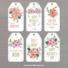 Assortment of floral labels for mother's day Free Vector Diy Mother's Day Crafts, Mother's Day Diy, Free Printable Tags, Printable Banner, Labels Free, Mothers Day Decor, Mothers Day Crafts, Mother's Day Banner, Mother's Day Printables
