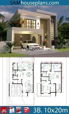 House Design Plans With 3 Bedrooms Plot Modern House Design bedrooms design House plans Plot 3d House Plans, Narrow House Plans, Model House Plan, House Layout Plans, Duplex House Plans, Dream House Plans, House Layouts, Modern House Floor Plans, House Design Plans
