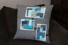Nice! Modern Blue and Gray Quilted Pillow Cover on Etsy,