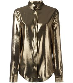 Gold silk blend metallic lamé shirt from Saint Laurent featuring a classic collar, a concealed front button placket, dropped shoulders, long sleeves, button cuffs and a curved hemline. Beige Long Sleeve Tops, Brown Long Sleeve Shirt, Long Sleeve Shirts, Look Fashion, Fashion Outfits, Beige Top, Collar Top, Grey Shirt, Ideias Fashion