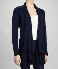 Love this Navy Ribbed Open Cardigan by RXB on #zulily! #zulilyfinds
