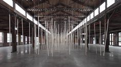 250 prepared ac-motors, 325 kg roof laths, km rope, an installation from Zimoun at the Knockdown Center NYC. Sound Installation, Artistic Installation, Architectural Thesis, Scenography Theatre, Architecture Design, Empty Canvas, Wooden Poles, Tech Art, Lighting Concepts