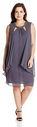 S.L. Fashions Women's Plus-Size Rhinestone Banded-Collar Tunic Dress