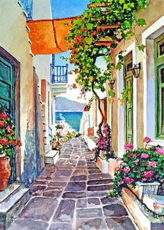 Pantelis Zografos - Alleyway, small passage way that wind down to the beach in Paros
