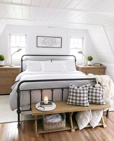 21 Enchanting Farmhouse Bedroom Ideas Anyone Can Replicate 18 Get All Ideas Abou. 21 Enchanting Farmhouse Bedroom Ideas Anyone Can Replicate 18 Get All Ideas About Home Guest Bedrooms, Home Decor Bedroom, Home, Bedroom Makeover, End Of Bed Bench, Home Bedroom, Bedroom Inspirations, Farmhouse Bedroom Decor, Remodel Bedroom