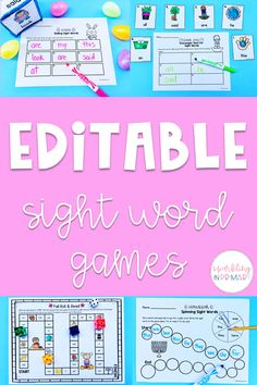 My top editable sight word games for your classroom! I LOVE editable activities because I can easily customize them. Sight words are such an important part of early education! #kindergarten #sightwords #sparklinginprimary