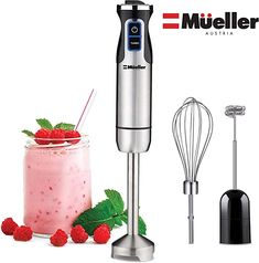 Mueller Austria Ultra-Stick 500 Watt Immersion Multi-Purpose Hand Blender Heavy Duty Copper Motor Brushed Stainless Steel Finish With Whisk, Milk Frother Attachments, Silver: Kitchen & Dining Small Kitchen Appliances, Cool Kitchens, Kitchen Gadgets, Smart Kitchen, Kitchen Small, Kitchen Items, Best Immersion Blender, Bulthaup Kitchen, Hand Blender