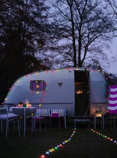 Love the idea of putting fairy lights down to mark a path to your caravan  Vintage Camper by amparo