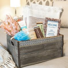 With the holidays around the corner, it's time to start prepping for guests. Customized welcome baskets are perfect for putting everyone at ease — even when they're far from home.