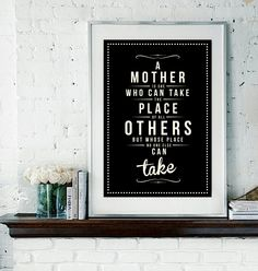 Retro Mother Mom Mum Quote Art Print - Vintage Typography Decor - Customize - Mother's Day Wall Art Poster UK. £15.00, via Etsy.