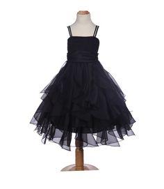 Elegant Stunning Black Organza Flower girl dress princess pageant wedding bridal bridesmaid toddler size 12-18m 2 4 6 6x 8 9 10 12 14 #151