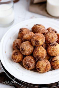 Nutella Churro Donut Holes | http://cafedelites.com