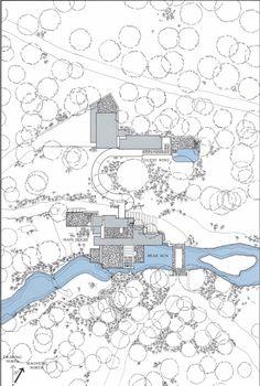 Fallingwater. Pennsylvania, U.S. Frank Lloyd Wright (architect). 1936–1939 C.E. Reinforced concrete, sandstone, steel, and glass. Plan from list.