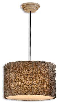 Knotted Rattan Light - transitional - Pendant Lighting - Bliss Home & Design