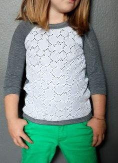Lace Sweatshirt Up-cycle by True Bias Holy crap, this is cute. I need to make one for me!....and learn to sew first...