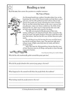 In this Aboriginal myth, the voice of the Ancestor spoke from a gum tree! In this reading and writing worksheet, your child gets practice reading a myth and interpreting it to answer questions about meaning and words used in context.
