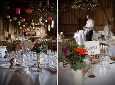 Michelle and Darren were married in May of last year at the lovely Lillibrooke Manor, Maidenhead. Seeing as festivals are a big part of their lives, they wanted their wedding to reflect that. Wedding Inspiration, Wedding Ideas, Tablescapes, Lanterns, Vibrant Colors, Table Decorations, Simple, Sweet, Flowers