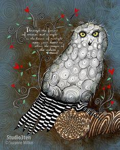 The White Owl / original illustration ART Print Hand SIGNED size 8 x 10 NEW Susan Millius