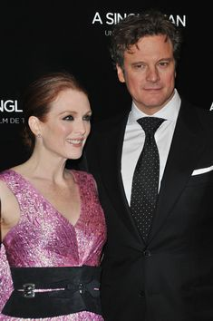"Actors Julianne Moore and Colin Firth pose as they attend ""A Single Man"" Paris Premiere at Cinema UGC Normandie on February 9, 2010 in Paris, France."