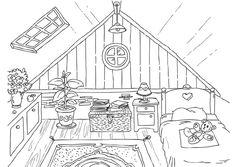 Kleurplaat woonkamer - ISK | Pinterest - Gebouwen, Nederlands en Geel